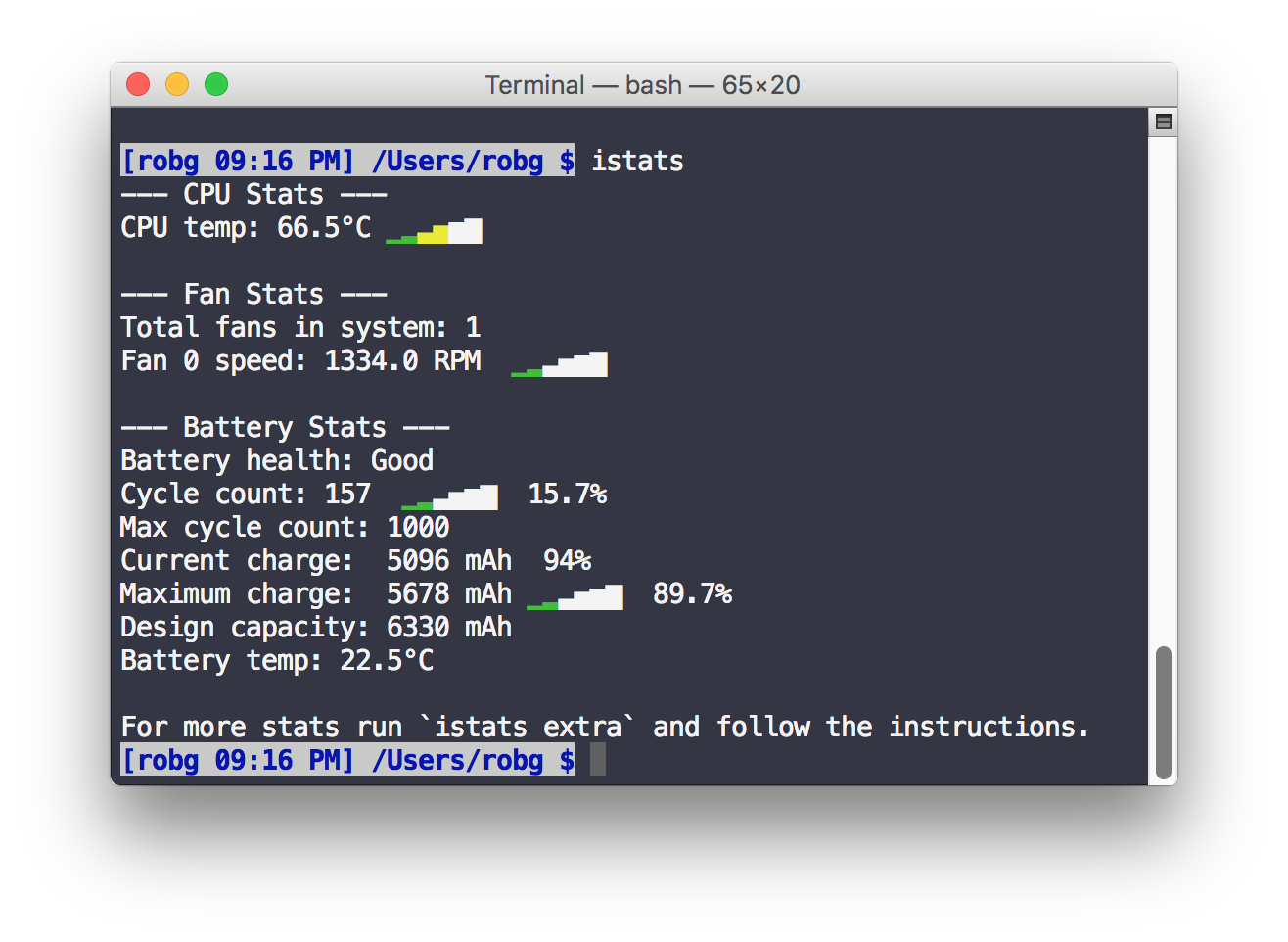 See sensor stats in Terminal | The Robservatory