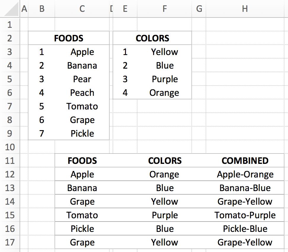 Randomly merge lists in Excel | The Robservatory