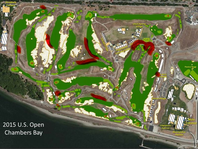 Trip Report Chambers Bay For Spectators The Robservatory - Us Open Course Map