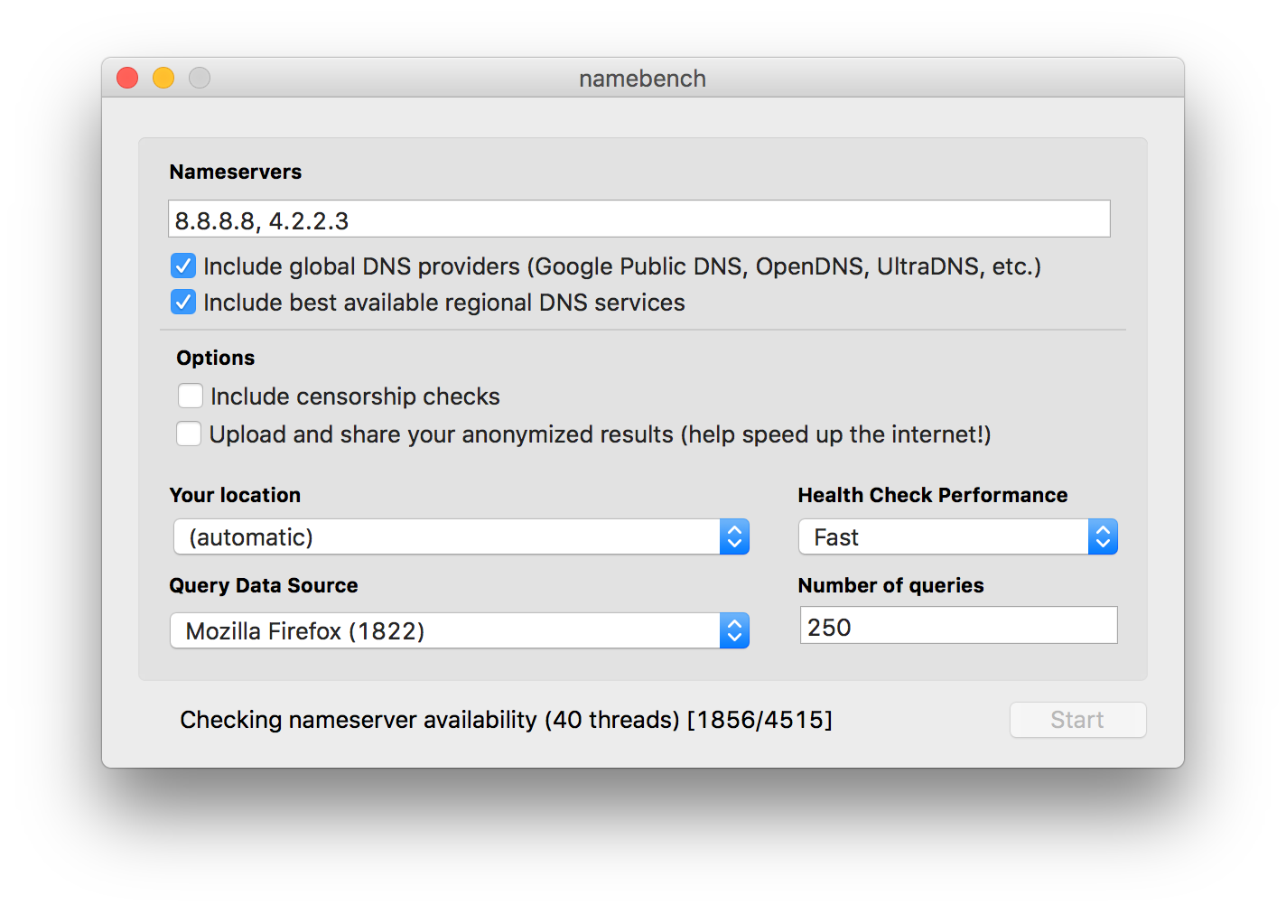 macOS app: Test DNS servers with namebench | The Robservatory