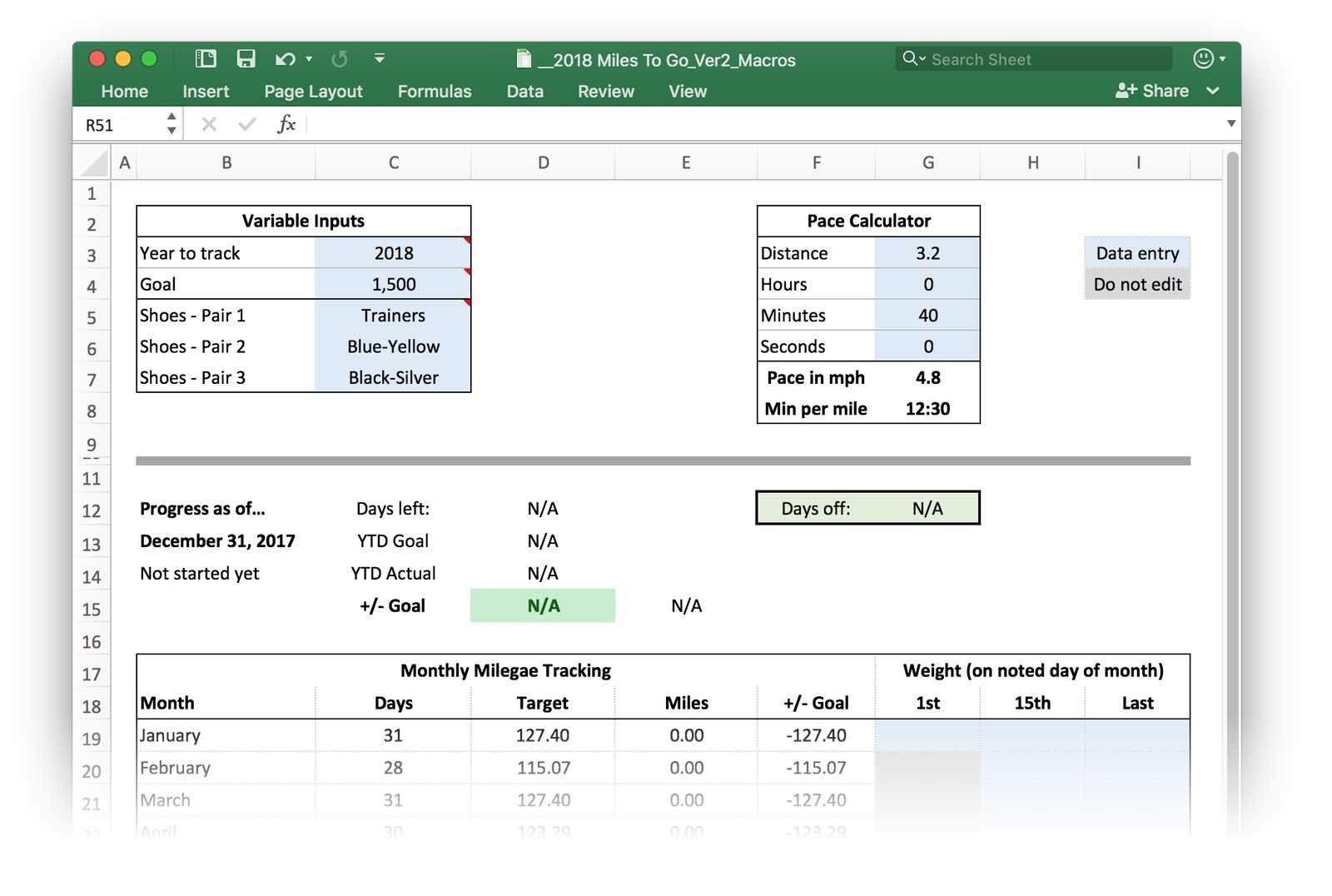 a much improved run tracking excel workbook the robservatory